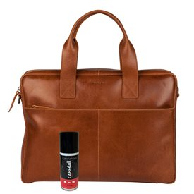 Burkely Leren Laptoptas 15.6 inch Fundamentals Vintage River Worker Cognac + Gratis Spray
