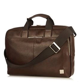 Knomo Newbury Leather Briefcase Brown 15 inch