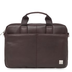 Knomo Stanford Small Leather Briefcase Brown 13 inch