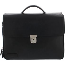 Laptoptas Plevier Leren Heren Laptoptas 15.6 inch 3-Vaks Urban Oxford 33 Zwart