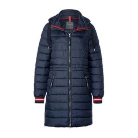 Street One winterjas donkerblauw/rood/wit